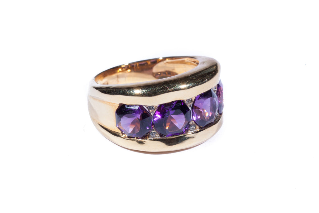 18K Four Stone Amethyst Ring with Diamonds