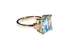 18K Yellow Gold Blue Topaz with Diamonds