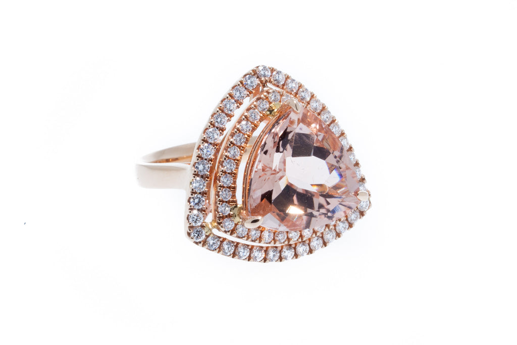 18K Rose Gold Trillion Cut Beautiful Peach Morganite with Double Halo of Diamonds