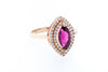 18K Rose Gold with Pink Tourmaline and Double Halo of Diamonds