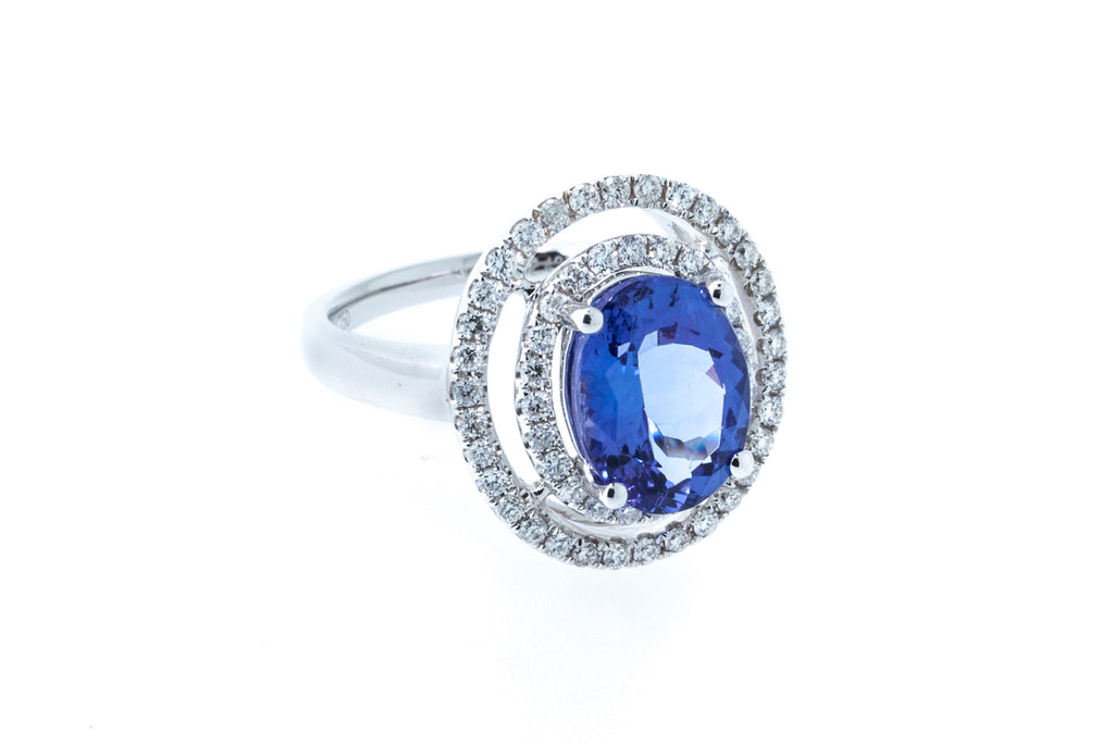 18K White Gold Tanzanite with Diamonds