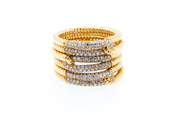 18K Yellow Gold Double Layer Rope Design with Diamonds