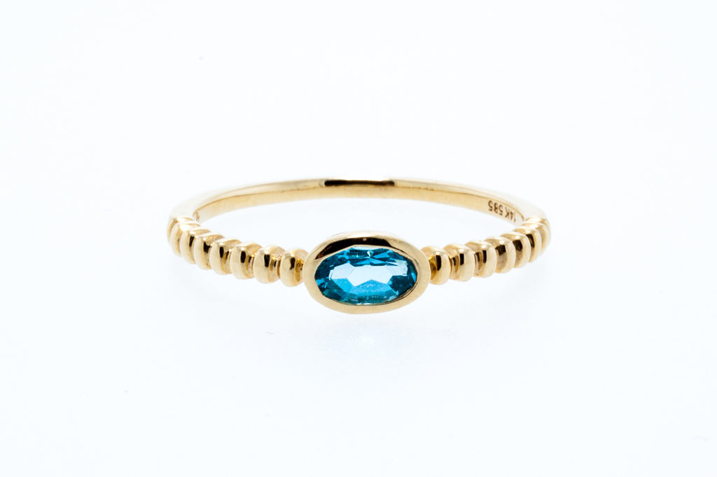 14K Yellow Gold Oval Blue Topaz