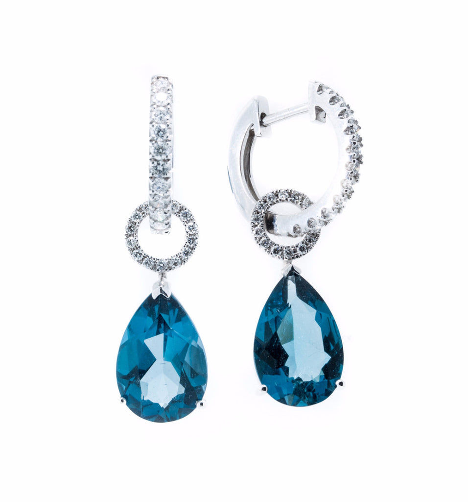 18K White Gold with Diamonds and London Blue Topaz Teardrop
