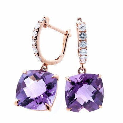 18K Rose Gold Amethyst Checkered Cushion Cut on Diamond Hoop