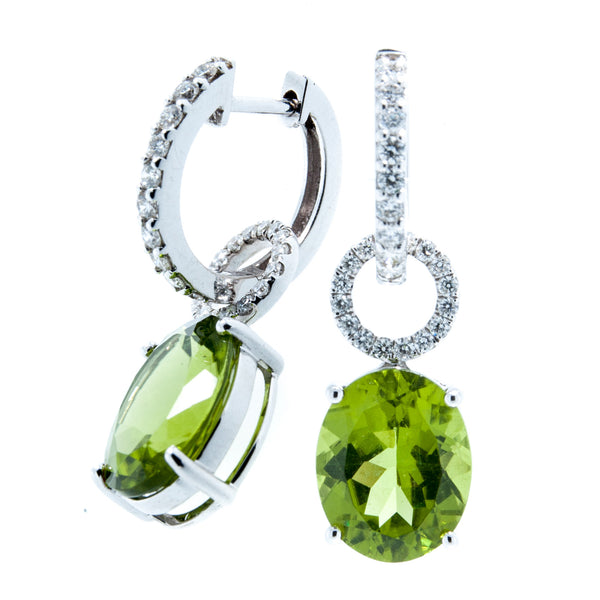 18K White Gold Oval Cushion Cut Peridot with Diamond Loop
