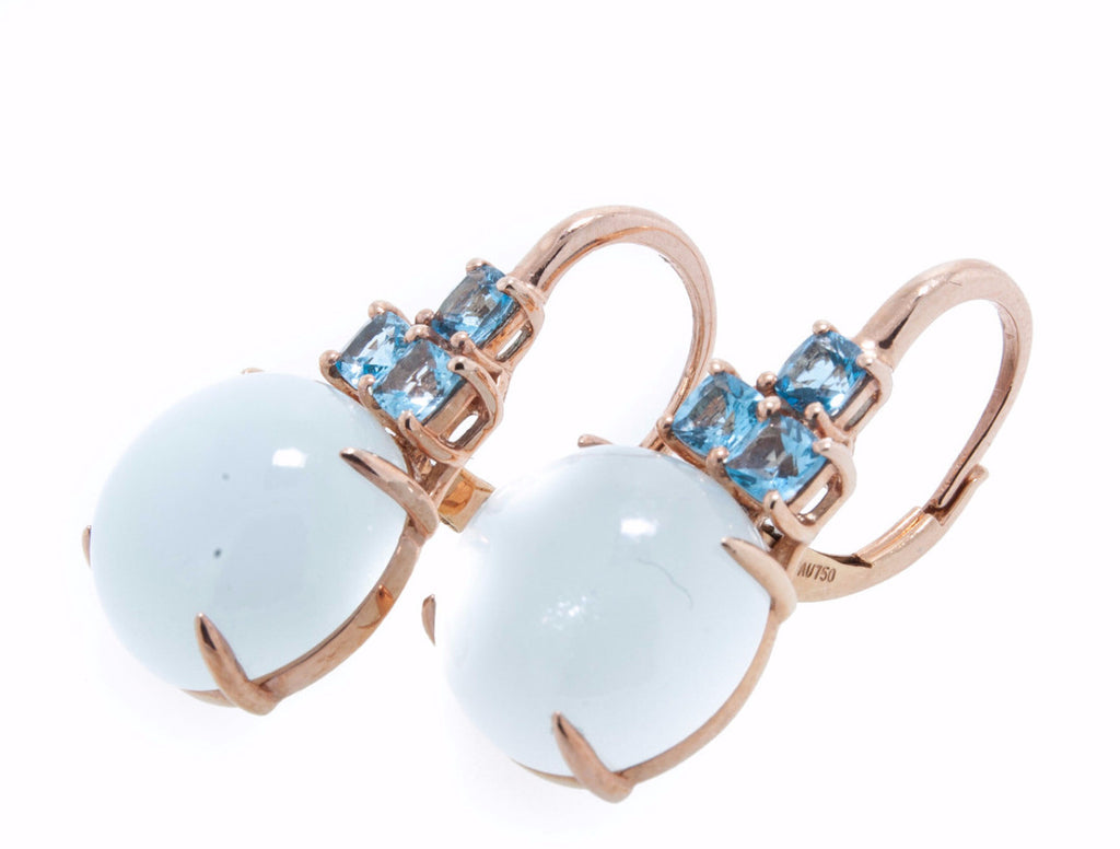 14K Rose Gold with Milky Aqua Marine and Swiss Blue Topaz