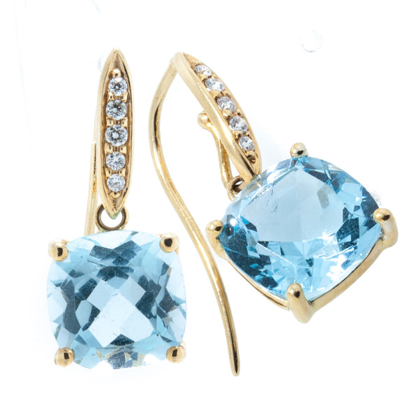 18K Yellow Gold Detachable Sky Blue Topaz Cushion Cut Stone