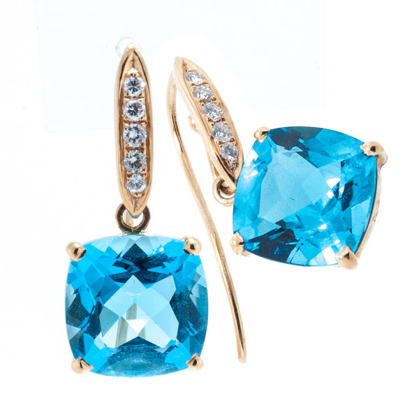 18K Rose Gold Detachable Swiss Blue Topaz Cushion Cut Stone