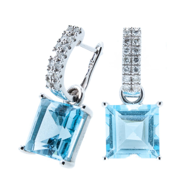 18K White Gold Emerald Cut Sky Blue Topaz Double Row Diamond Omega Hook Detachable