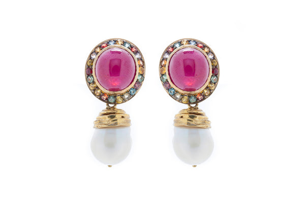 Multi Coloured Sapphires with Large Cabochon Ruby Stone and Detachable Fresh Water Baroque Pearl Drops