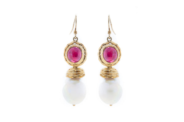 Ruby Cabochon with Detachable Fresh Water Baroque Pearl Drop