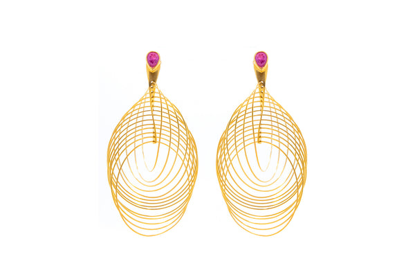 Pink Tourmaline Unique Spiral Design in silver with 18K Gold Vermeil