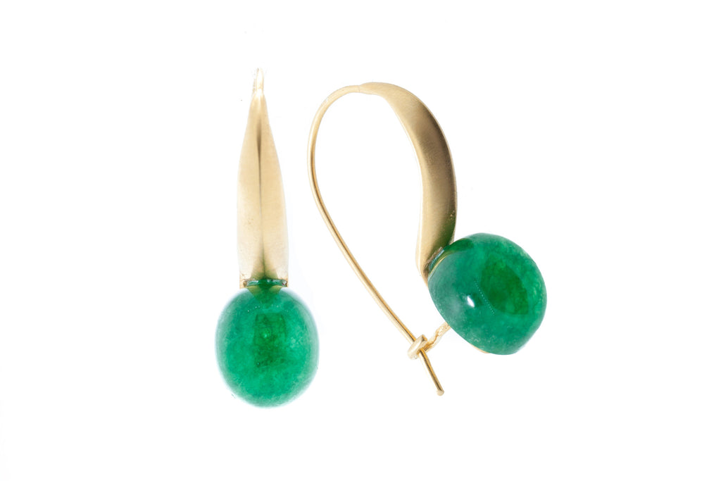 Jade Cabochon on Silver with 18K Gold Brushed Vermeil