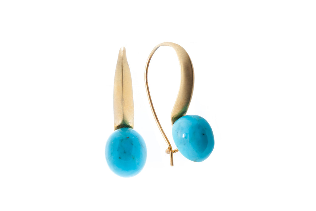 Turquoise in Silver with 18K Gold Brushed Vermeil