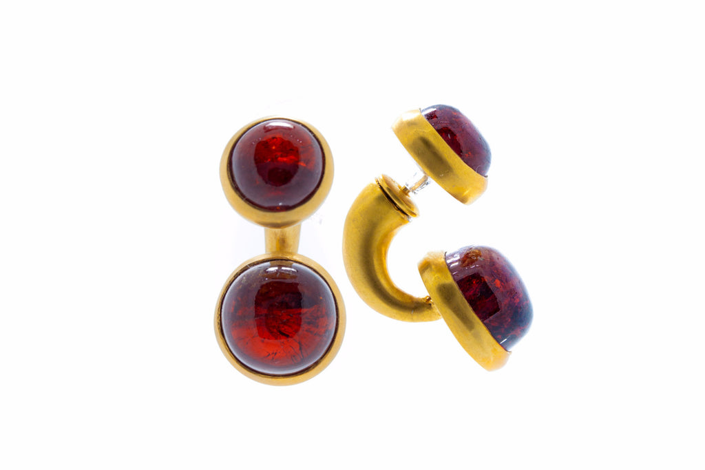 Cabochon Garnet in Silver with Brushed 18K Gold Vermeil