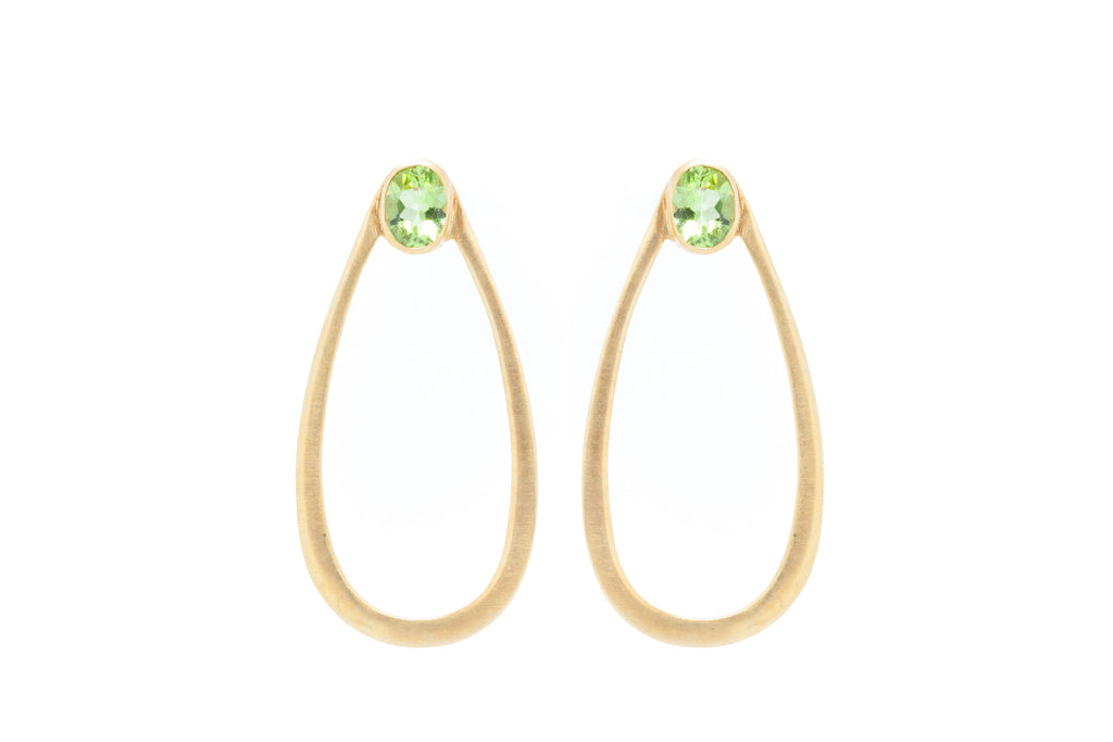 Teardrop Hoop with Peridot on Silver with 18K Brushed Gold Vermeil