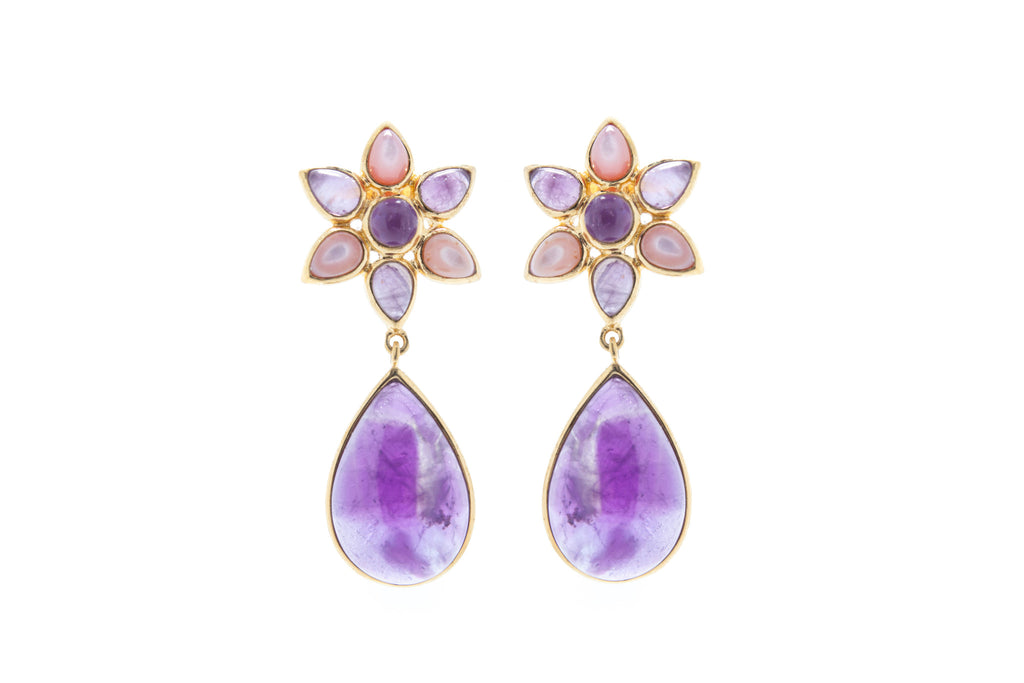 Flower Design Drop Earrings in Amethyst and Pink Mother of Pearl