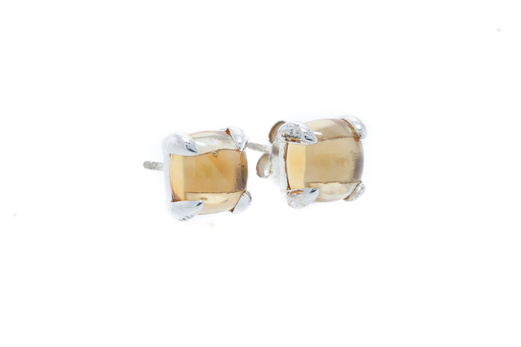 Citrine Cabochon on Silver with 18K White Gold