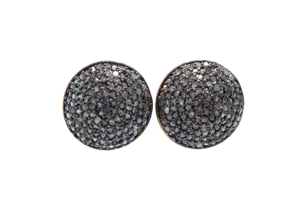 Diamond Stud Earrings with Black Rhodium on 925 Silver