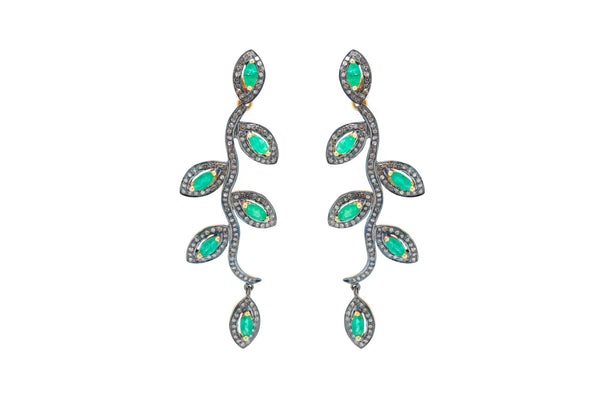 Emerald and Diamond Leaf Earring on 925 Silver with Gold Vermeil