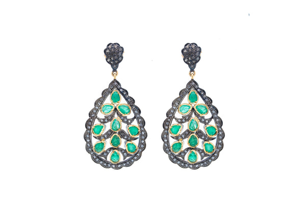 Emerald and Diamond Earring on 925 Silver with Black Rhodium and 18K Yellow Gold Finish