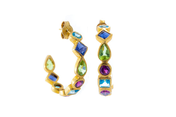 Swiss Blue Topaz, Tanzanite Peridot Garnet Hoops