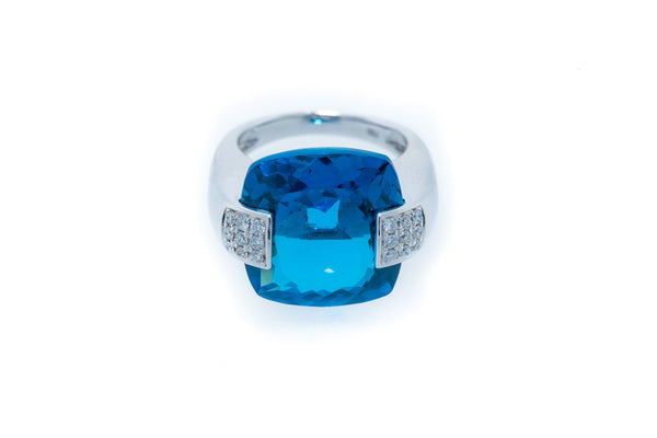 18K White Gold London Blue Topaz with Diamonds