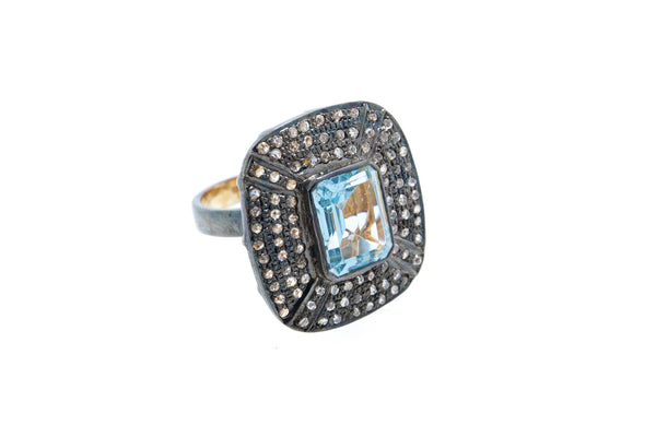 Blue Topaz with Diamond on 925 Silver with Black Rhodium