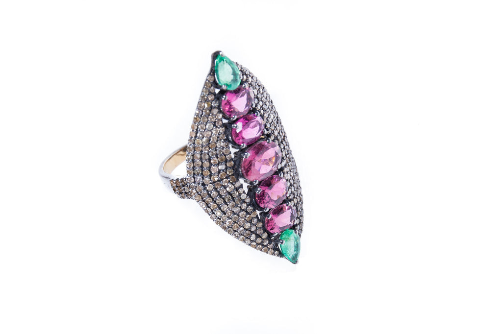 Pink Tourmaline and Emerald with Diamonds on 925 Silver with Rhodium