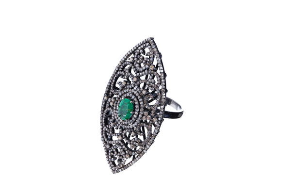 Emerald with Diamonds on 925 Silver with Rhodium