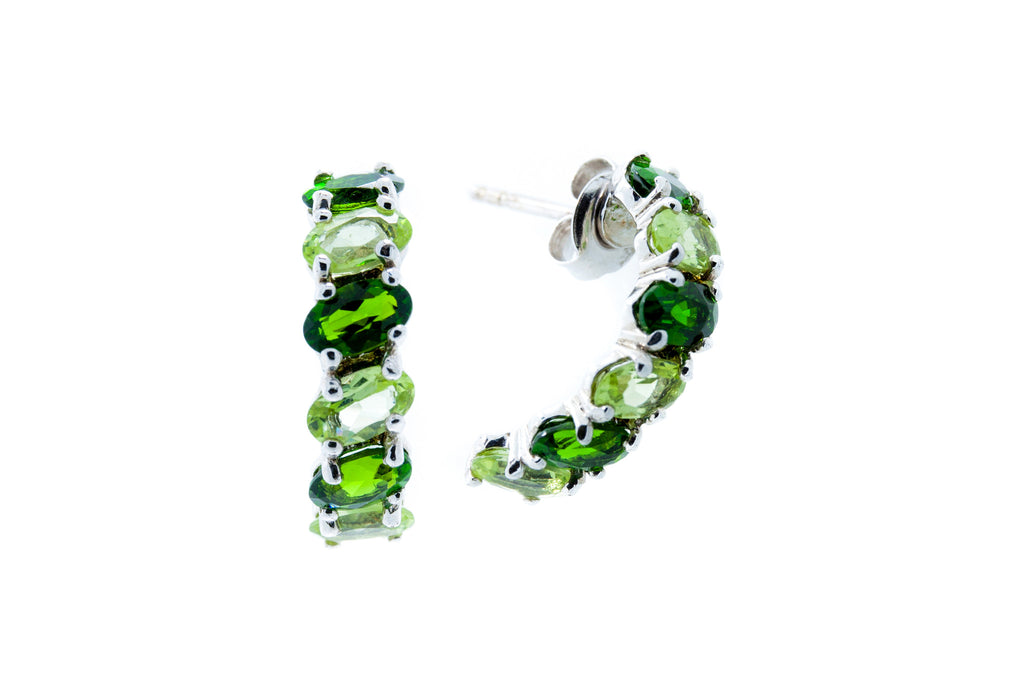 Chrome diopside and Peridot Half Hoop