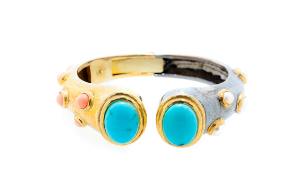 Gem Stone Cuff with Turquoise, Coral and Fresh Water Pearl