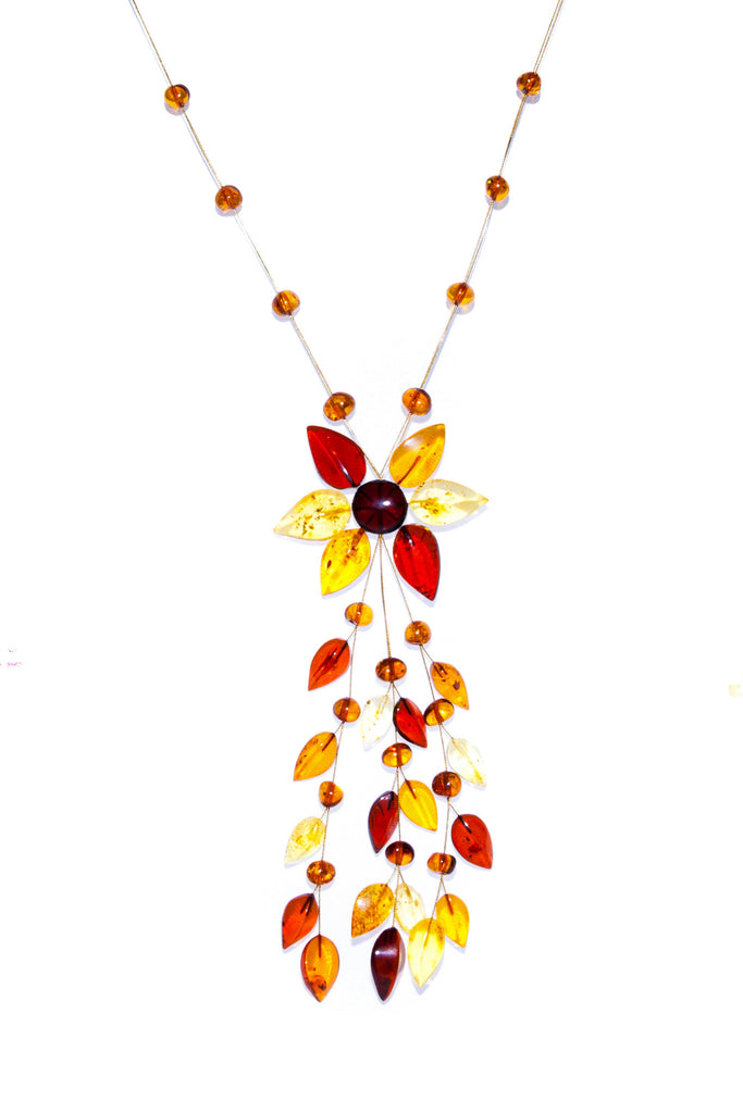 Multi Coloured Amber Fashioned in Floral Design