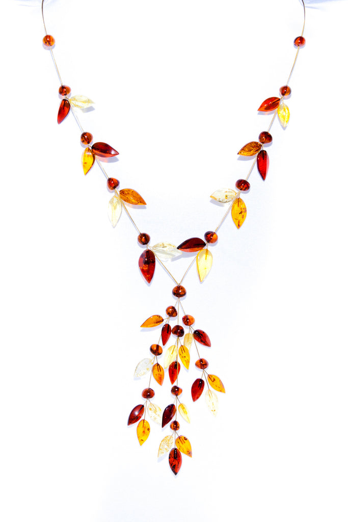Multi Coloured Amber Fashioned in Leaf Design