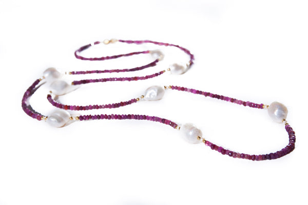 Faceted Ruby Beads with Large Fresh Water Baroque Pearls