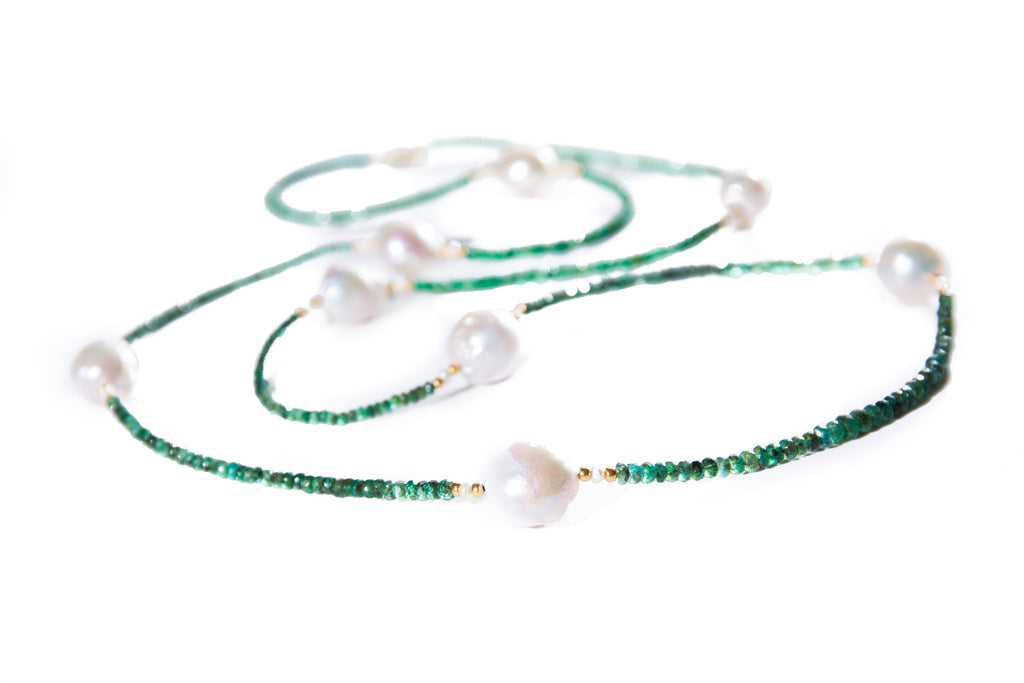 Faceted Emerald Beads with Large Fresh Water Baroque Pearls