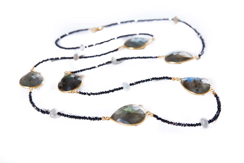 Large Labradorite Gem Stones Set in 18K Gold Vermeil with Black Onyx