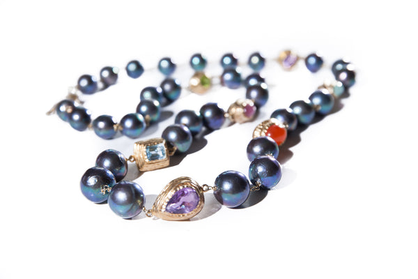 Large Round Black Fresh Water Pearl with Coloured Gem Stones in Handcrafted 18K Gold Vermeil
