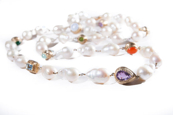 Long Baroque Fresh Water Pearl Necklace with Coloured Gem Stones in Handcrafted 18K Gold Vermeil