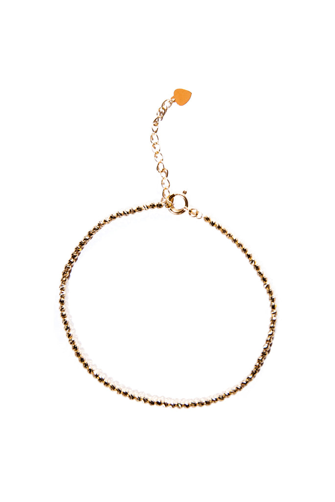 18K Yellow Gold Faceted Bead Braclet