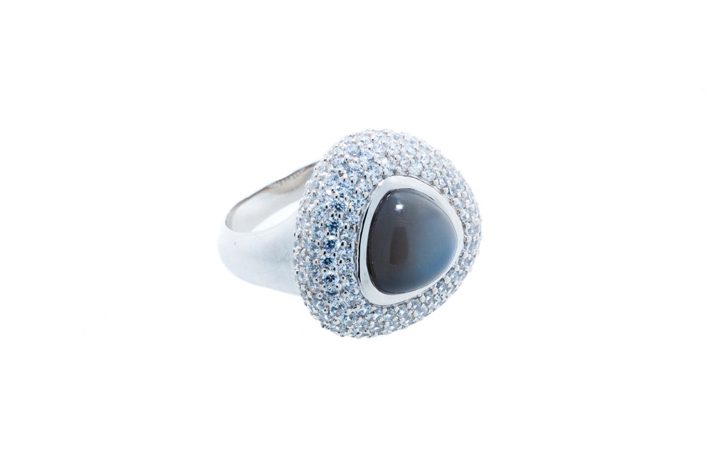 Charcoal Cabochon Moonstone with CZ on 18K White Gold Finish