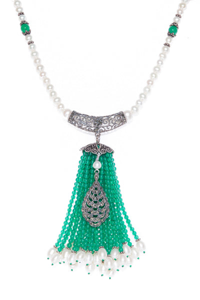 Fresh Water Pearl Necklace with Marcasite Enhancer with Green Onyx Tassel