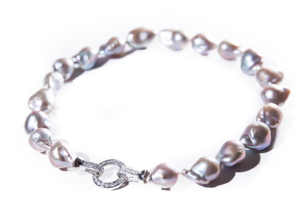 Fresh Water Lilac Baroque Pearls with Silver Clasp