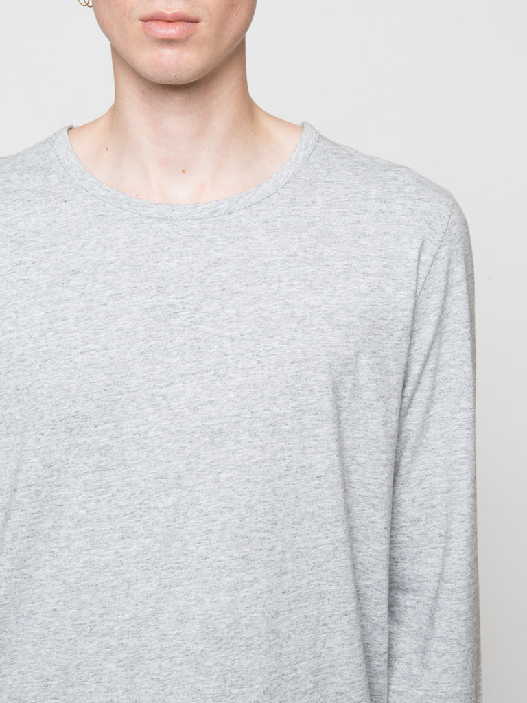 Commoners Classic Long Sleeve Tee Shirt Grey Front Detail