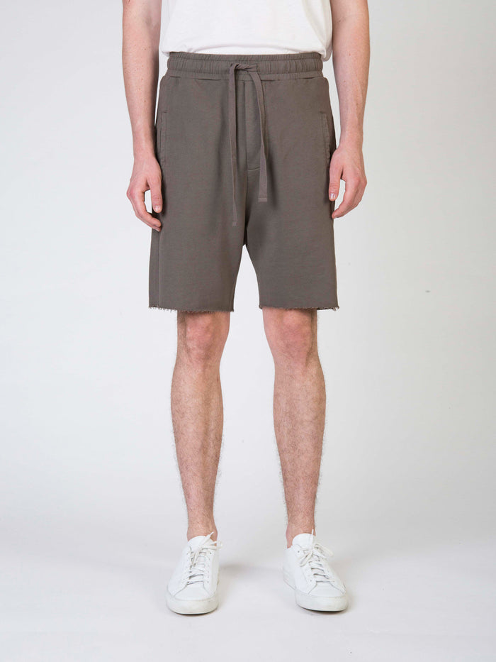 Commoners Fleece Mens Shorts Khaki Front