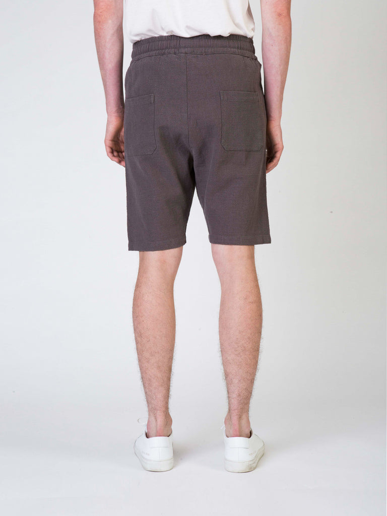 Commoners Linen Walk Mens Shorts Grey Back
