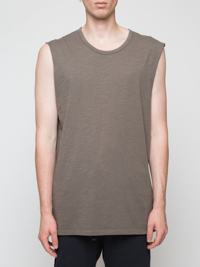 Commoners Muscle Tank Top Khaki Front