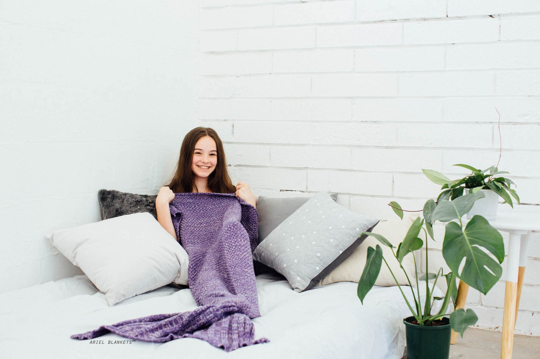 kids mermaid blanket in purple