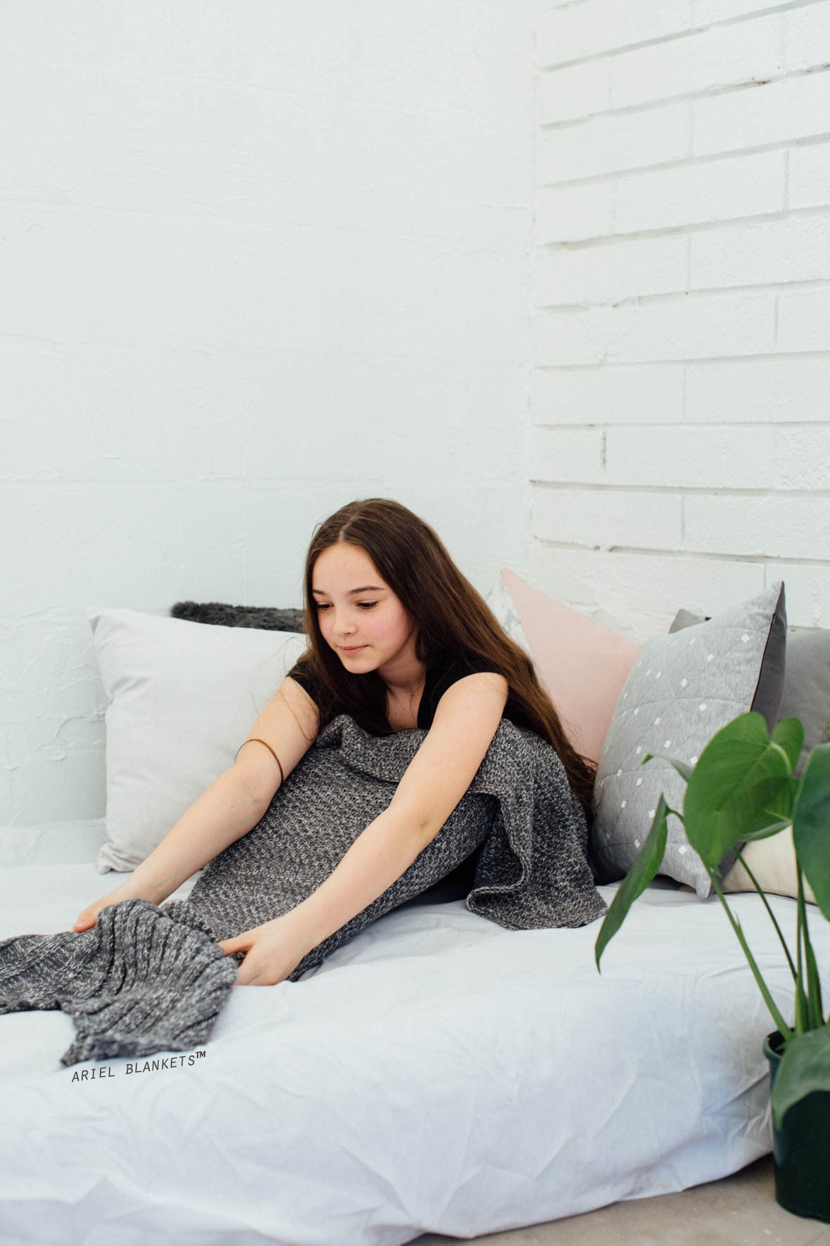 kids mermaid blanket in gray